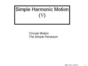 Simple Harmonic Motion V Circular Motion The Simple