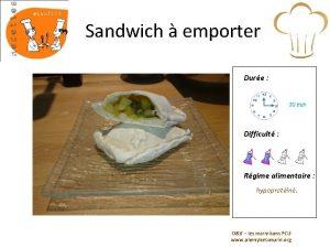 Sandwich emporter Dure 30 min Difficult Rgime alimentaire