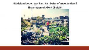 Stadslandbouw wat kan kan beter of moet anders
