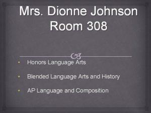 Mrs Dionne Johnson Room 308 Honors Language Arts