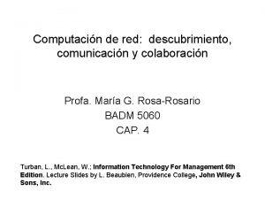 Computacin de red descubrimiento comunicacin y colaboracin Profa