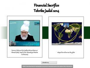Financial Sacrifice Tehrike Jadid 2014 Sermon Delivered by