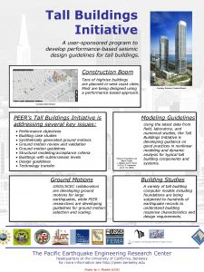 Tall Buildings Initiative A usersponsored program to develop