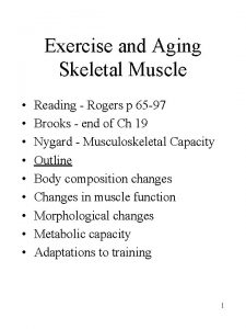 Exercise and Aging Skeletal Muscle Reading Rogers p