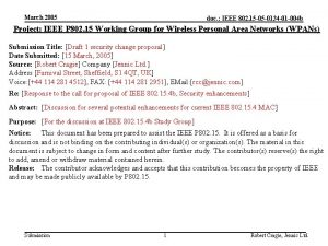 March 2005 doc IEEE 802 15 05 0134