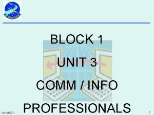 BLOCK 1 UNIT 3 COMM INFO Ver AB