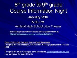 th th 8 grade to 9 grade Course