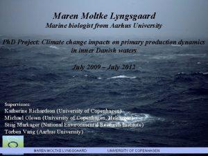 Maren Moltke Lyngsgaard Marine biologist from Aarhus University