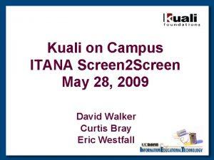 Kuali on Campus ITANA Screen 2 Screen May