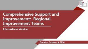 Comprehensive Support and Improvement Regional Improvement Teams Informational