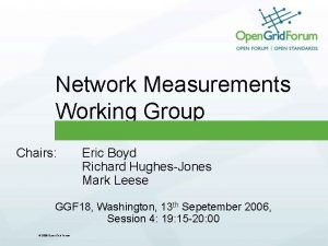 Network Measurements Working Group Chairs Eric Boyd Richard
