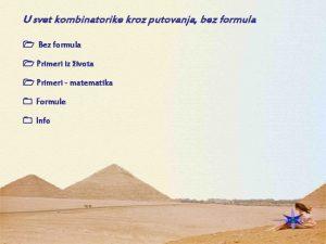 U svet kombinatorike kroz putovanja bez formula Bez