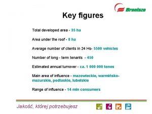 Key figures Total developed area 35 ha Area