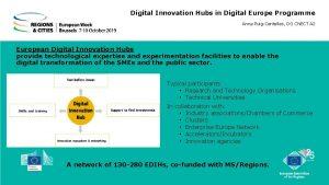 Digital Innovation Hubs in Digital Europe Programme Anna