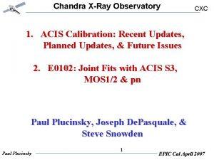 Chandra XRay Observatory CXC 1 ACIS Calibration Recent