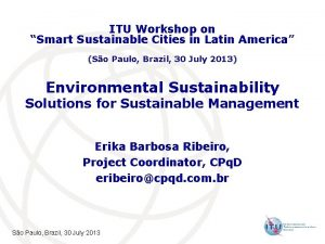 ITU Workshop on Smart Sustainable Cities in Latin