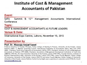 Institute of Cost Management Accountants of Pakistan Event