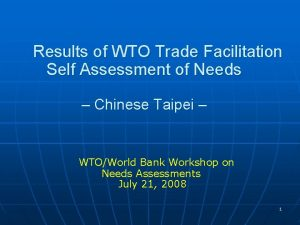 Results of WTO Trade Facilitation Self Assessment of