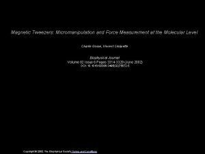 Magnetic Tweezers Micromanipulation and Force Measurement at the