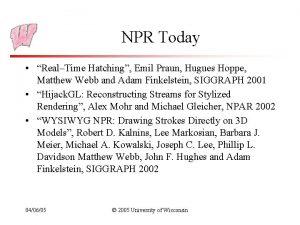 NPR Today RealTime Hatching Emil Praun Hugues Hoppe