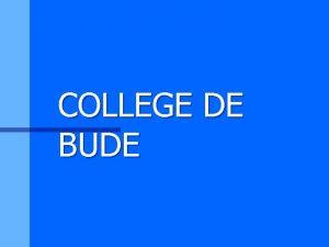 COLLEGE DE BUDE REUNION DES PARENTS DES ELEVES