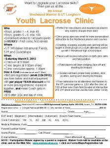 Want to Upgrade your Lacrosse skills Then join