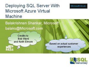 Deploying SQL Server With Microsoft Azure Virtual Machine