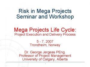 Risk in Mega Projects Seminar and Workshop Mega