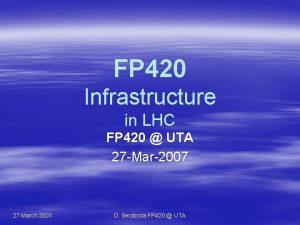 FP 420 Infrastructure in LHC FP 420 UTA