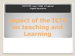university Amar Telidji of Laghouat English department impact