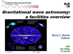 Gravitational wave astronomy a facilities overview Barry C