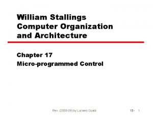 William Stallings Computer Organization and Architecture Chapter 17