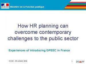 Ministre de la Fonction publique How HR planning