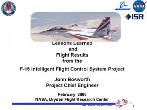 Lessons Learned and Flight Results from the F15