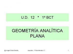 U D 12 1 BCT GEOMETRA ANALTICA PLANA