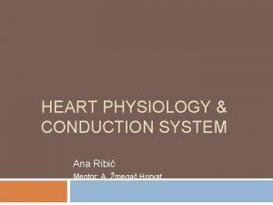 HEART PHYSIOLOGY CONDUCTION SYSTEM Ana Ribi Mentor A
