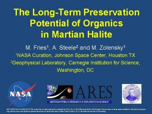 The LongTerm Preservation Potential of Organics in Martian