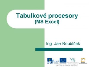 Tabulkov procesory MS Excel Ing Jan Roubek Formtovn