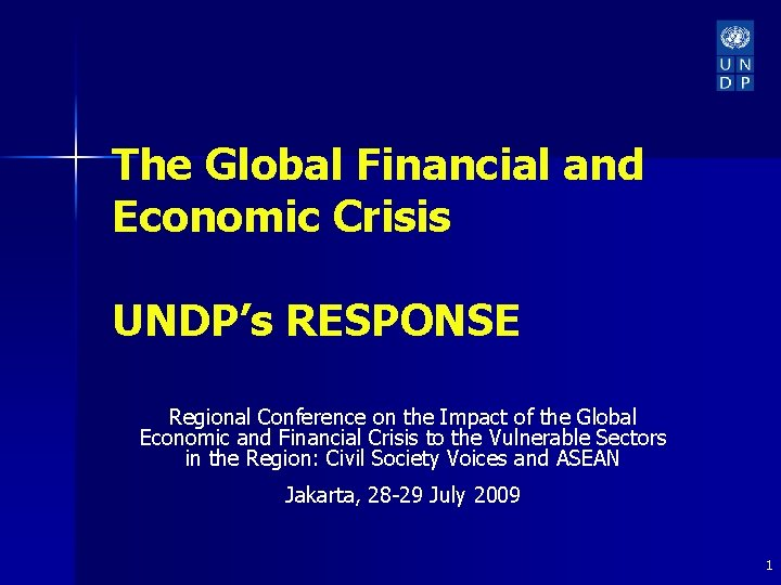 The Global Financial and Economic Crisis UNDPs RESPONSE