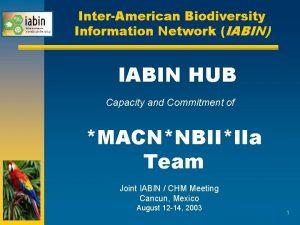 InterAmerican Biodiversity Information Network IABIN IABIN HUB Capacity