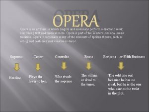 OPERA Opera is an art form in which