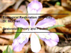 Ecological Restoration BIO 409 Dr Mc Ewan Restoration