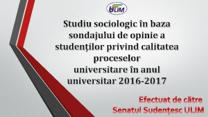 Studiu sociologic n baza sondajului de opinie a
