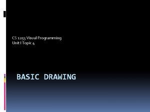 CS 1253 Visual Programming Unit I Topic 4