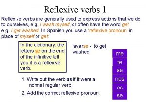 Reflexive verbs 1 Reflexive verbs are generally used