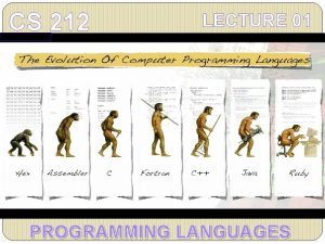 CS 212 LECTURE 01 PROGRAMMING LANGUAGES CS 212