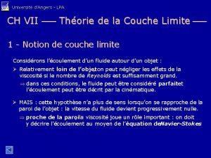 Universit dAngers LPA CH VII Thorie de la