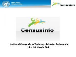 United Nations Statistics Division National Census Info Training
