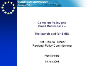 EUROPEAN COMMISSION Regional Policy Cohesion Policy and Small