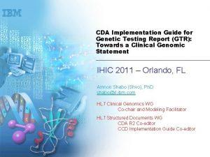 CDA Implementation Guide for Genetic Testing Report GTR
